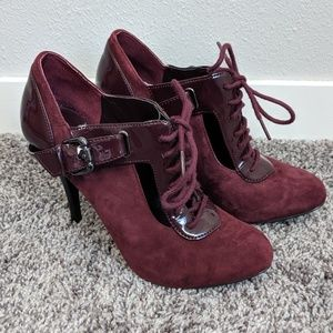 Guess Burgundy Wine Lace Up Bootie Heels